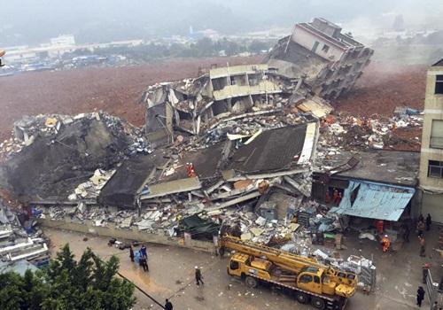 Hiện trường vụ sập nhà do lở đất tại khu công nghiệp Hằng Thái Dụ ở thành phố Thâm Quyến, phía nam Trung Quốc. Ảnh: AP