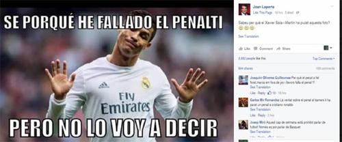 Hình ảnh châm biếm trên Facebook của Laporta.